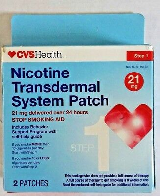 CVS NICOTINE TRANSDERMAL SYSTEM PATCH STEP 1 21 MG 2 Patches Stop Smoking 8/2018
