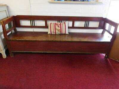 A Lovely Original Antique Painted Box Hall Settle Or Dining Bench
