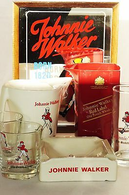 Konvolut 7 T ~ JOHNNIE WALKER Red Label ~ 2 Krüge 1 Ascher 3 Becher 1 Barspiegel