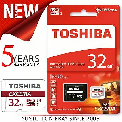 Toshiba EXCERIA M302 32GB Micro SD with Adap│90MB/S│4K Record│Use Phone & Camera