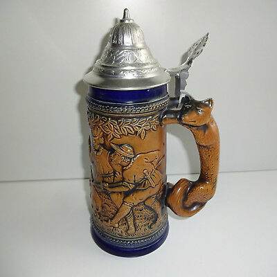 Beer Mug 0,5 Ceramic Beer with Tin Lid Gerz Hunting Motif Fox fuchsgriff