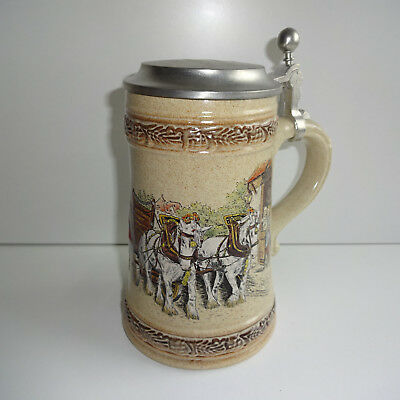 Beer Mug 0,5 Ceramic Beer with Tin Lid Gerz Carriage