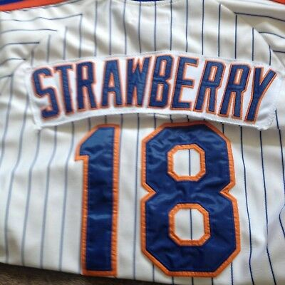 new styles e43dc cf0b1 MITCHELL & NESS NEW YORK METS DARRYL STRAWBERRY #18 STITCHED THROWBACK  Jersey