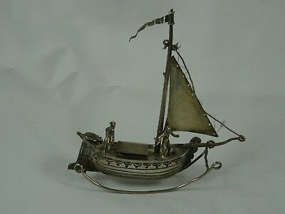EDWARDIAN solid silver MINIATURE SAILING BOAT, 1904, 40gm