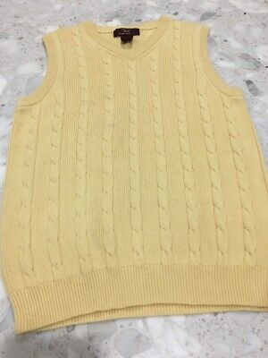 Brooks Brothers 346 Vest Boys Medium Yellow Sleeveless Pull Over V Neck