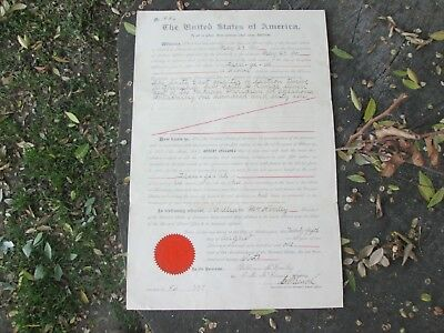 President Wm McKinley INDIAN TERRITORY Land Grant 1901 Assassination Document