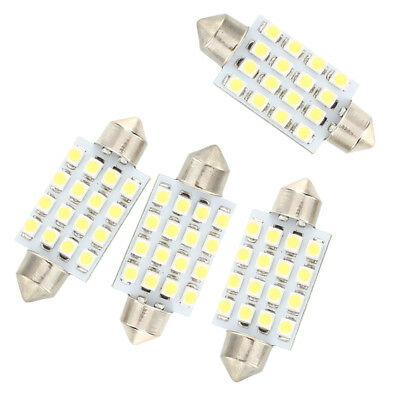 4 Pcs 42mm 16 SMD LED White Car Dome Festoon Interior Light Bulb O1K2