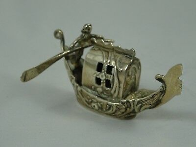 EDWARDIAN  solid silver MAN ON GONDOLA,  1903, 27gm