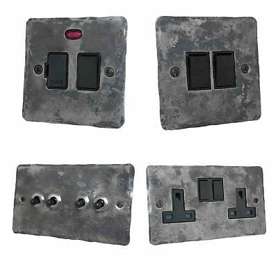 Rustic Silver Flat Plate FRB Light Switches, Plug Sockets, Dimmers, Cooker, Fuse