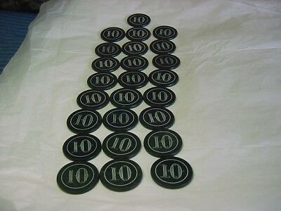 25 antique clay poker chips with a # 10  on them  double sided 1920's