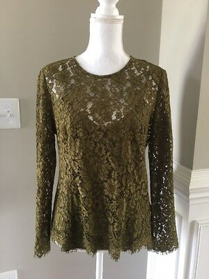 ae33dbf8c26 NEW J CREW Lace Top with Cami Burnished Moss Green Sz 4 Small H2200 ...