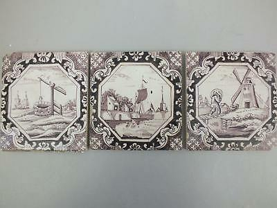 (12) 3 English? Dutch? Manganese Delft Tiles With Landscape Scene 18Th Century
