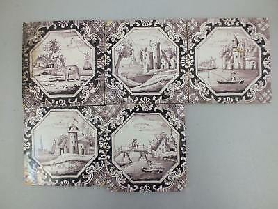 (14) 5 English? Dutch? Manganese Delft Tiles With Landscape Scene 18Th Century