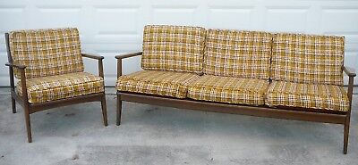 Pair FAB Set Mid Century Modern Danish Sofa Armed Chair Set Excellent  Condition