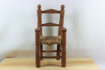 Miniature Ladderback Doll Arm Chair with Rush Seat