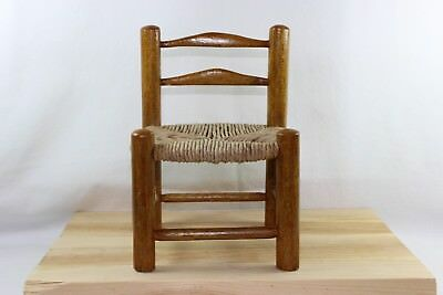 Miniature Ladderback Doll Display Chair with Rush Seat