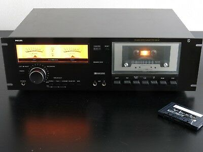"Vintage PHILIPS 19"" Rack Mount Black Tulip Cassette deck N5438"