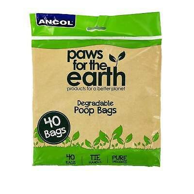 Ancol Dog Puppy Biodegradable Tie Handle Poop Scoop Poo Waste Bags 40 80 120 160
