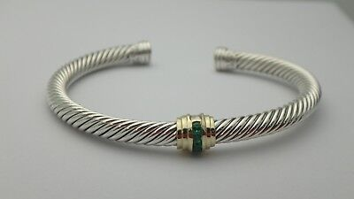 David Yurman Cable Classic Single-Station Bracelet With Emeralds And Gold 5mm