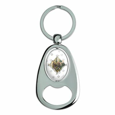 Moose Diamond Chrome Plated Metal Spinning Oval Design Bottle Opener Keychain