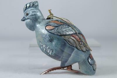G. DeBrekht-Russia Blue Hen Ornament With Clip Gold #62414-2 New In Box!