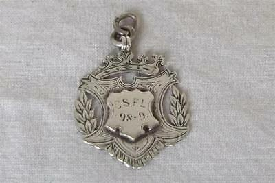 A Fine Boxed Antique Solid Sterling Silver Victorian Fob Medal Birmingham 1898.