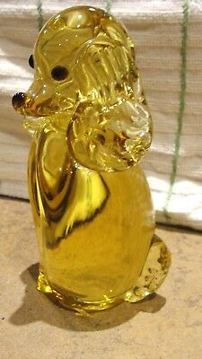 "Collectible Art Glass 5 3/4"" Amber Poodle Spaniel Dog Figurine Unmarked"