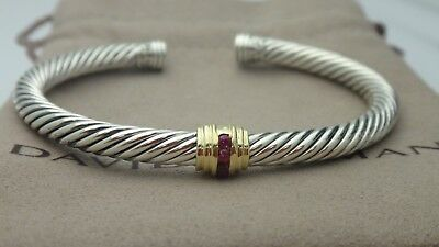 David Yurman Cable Classic Single-Station Bracelet With Ruby And Gold 5mm