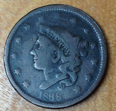 1838 Large Cent ~ True Auction .99 Cent Starting Bid & No Reserve!