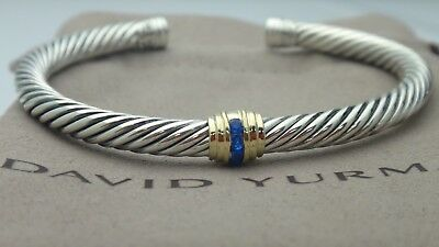 David Yurman Cable Classic Single-Station Bracelet With Blue Sapphire & Gold 5mm