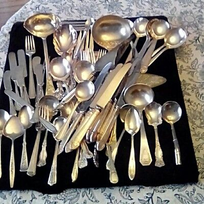 80 Piece Lot Vintage Silver Plated Flatware & Serving Utensils Famous Makers
