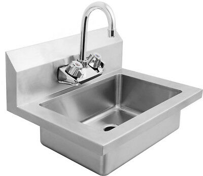 """New Wide Wall Mount Hand Sink Stainless Steel W Faucet 18"""" W X 14.5"""" D"""
