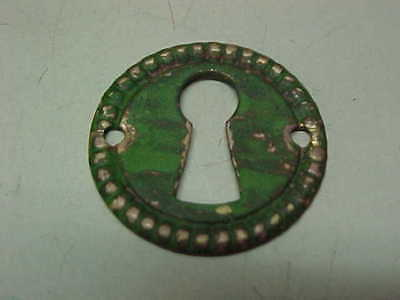 Vintage Old Antique Round Brass Escutcheon Key Hole Keyhole Cover - Green Patina