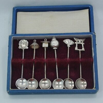 Set of Six Sterling Silver Japanese Asian Figural Salt Spoons Boxed  C 1950