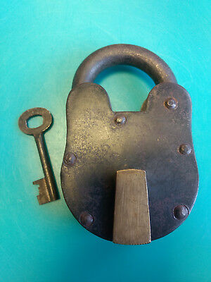 Huge Old Vtg Antique Collectible Cast Iron Padlock Lock With Key
