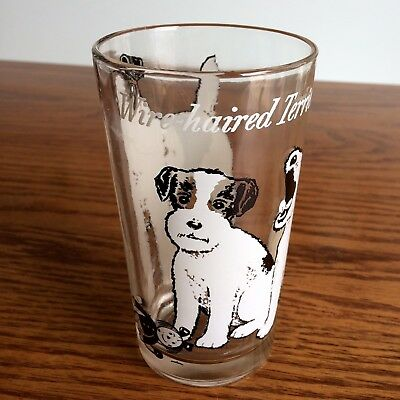 "Vtg WIRE HAIRED TERRIER Dog Glass BOSCUL Peanut Butter 5"" Swanky Swig Tumbler"