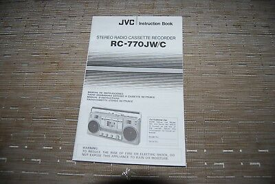 JVC RC-770 Stereo Cassette Recorder Boombox Original Manual Instructions Book