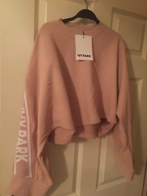 BNWT Cropped Knitted Logo Sweatshirt By Ivy Park Topshop S/8-10
