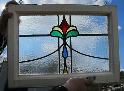 Antique Stained Leaded Glass Window Pane Architectural Salvage Framed NR #1 yqz