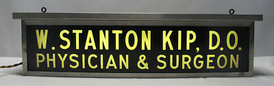 Vintage Doctor's Two Sided Lighted Sign W Stanton Kip DO Physician Surgeon yqz