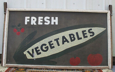 Antique Americana Hand Painted Folk Art Roadside Stand Sign 2-Sided EAR CORN yqz