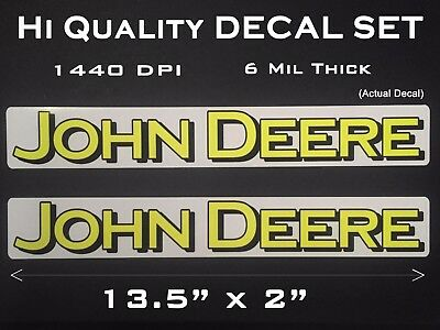 2 Large John Deere Logo Decals sticker 13 1/2 x 2 inch