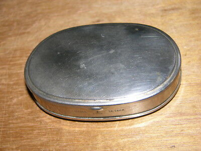Antique Small Oval Nickel Plated Brass 1860 Box for a Scale or Medicines