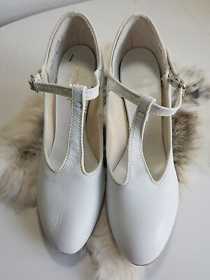 vintage white tbar womens dancing shoes