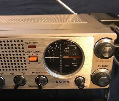 Vintage Sony TV-411 Portable FM/AM TV Receiver Tested,, Working, Beautiful