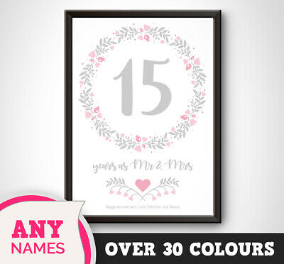 15th Wedding Anniversary.Personalised 15th Wedding Anniversary Print Floral Gift Present Picture Crystal