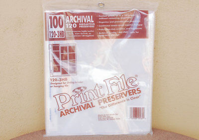 Print File Archival Negative Film Preservers 120-3HB 12-6x6 negs pr page NEW 100