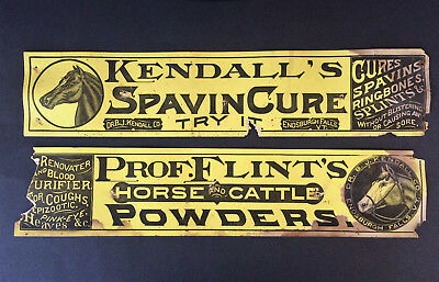 Two Rare Antique Dr. KENDALL'S & PROF. FLINT'S VT Cardboard Advertising Signs