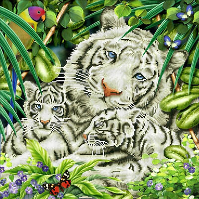 Diamond Dotz 5D Embroidery Facet Art Kit, White Tiger & Cubs, Round Faceted Dots