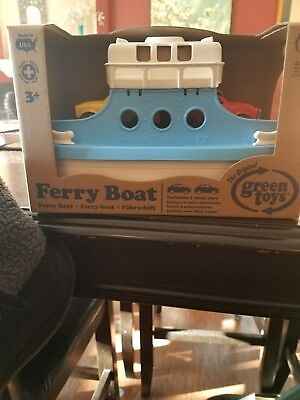 GREEN TOYS FRBA-1038 Ferry Boat with Mini Cars Bathtub Toy, Blue ...